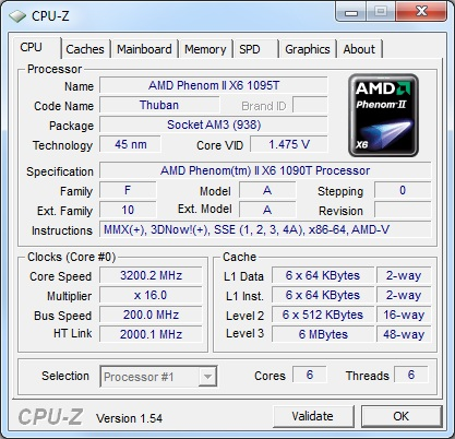 CPU-Z phenom II x6