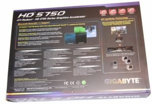 Коробка задняя сторона GIGABYTE Radeon HD 5750 1GB