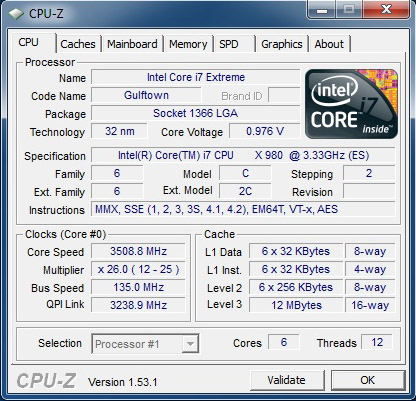CPU-Z Core i7-980X Extreme Edition Gulftown
