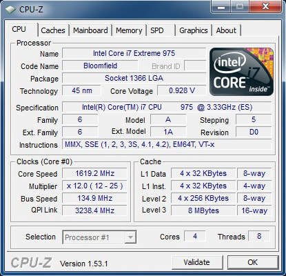 CPU-Z Core i7-975 Extreme Edition Bloomfield