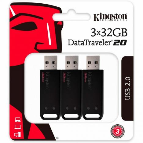 USB флеш накопитель Kingston 3x32GB DataTraveler 20 USB 2.0 (DT20/32GB-3P) - Фото 4