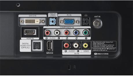 HDMI, DVI-D, VGA, оптический вход для звука, компонентный и композитный входы