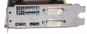 Разъемы ввода-вывода представлены на карте двумя портами DVI, одним HDMI и одним DisplayPort