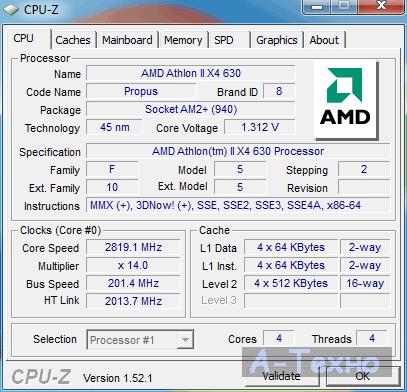 Athlon II X4 CPU-z